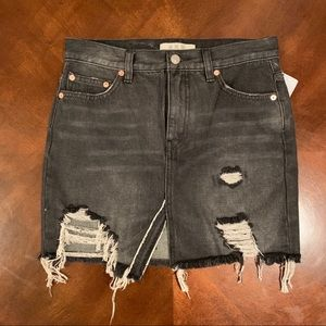 Free People Relaxed Distressed Mini Skirt NWT